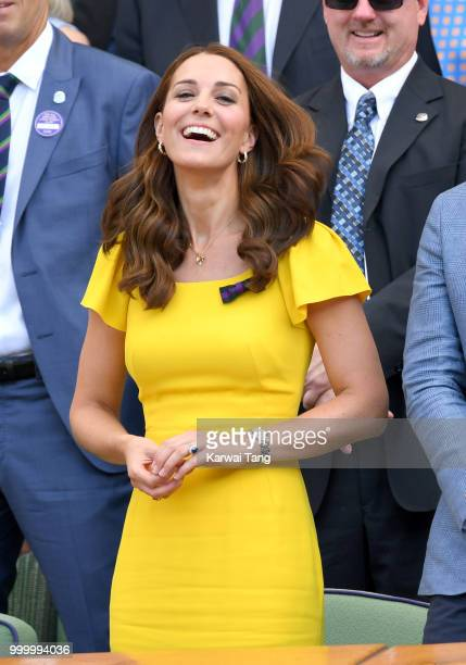 Catherine Duchess of Cambridge attends the men's single final on day thirteen of the Wimbledon Tennis Championships at the All England Lawn Tennis...
