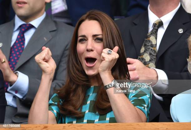 Catherine Duchess of Cambridge attends the mens singles final between Novak Djokovic and Roger Federer on centre court during day thirteen of the...