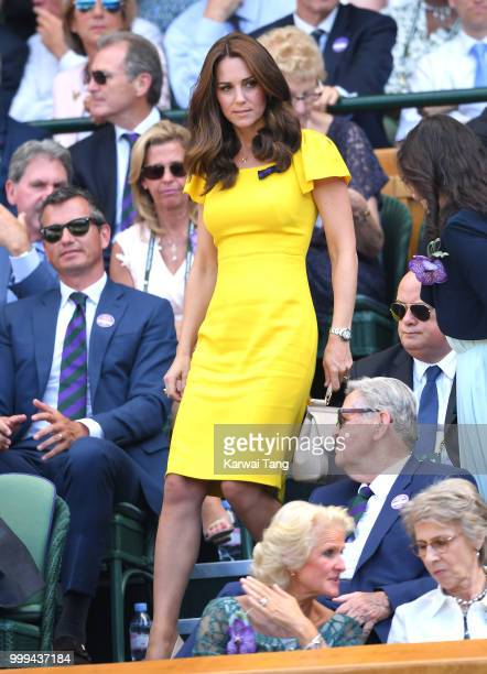 Catherine Duchess of Cambridge attends the men's singles final on day thirteen of the Wimbledon Tennis Championships at the All England Lawn Tennis...