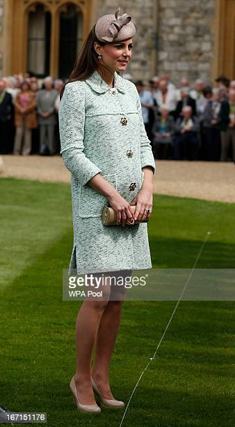 Catherine Duchess of Cambridge attends the National Review of Queen's Scouts at Windsor Castle on April 21 2013