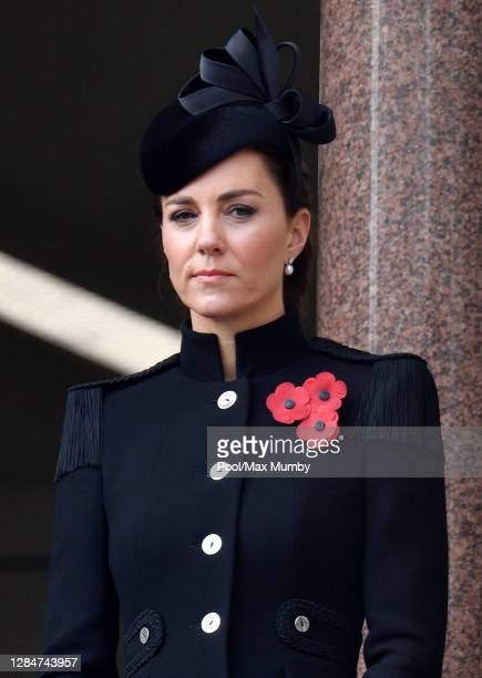 Catherine, Duchess of Cambridge attends the National Service of Remembrance at The Cenotaph on November 8, 2020 in London, England. Remembrance...