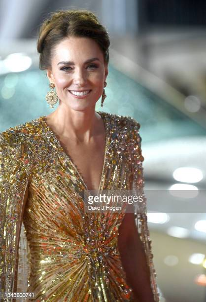 """Catherine, Duchess of Cambridge attends the """"No Time To Die"""" World Premiere at Royal Albert Hall on September 28, 2021 in London, England."""