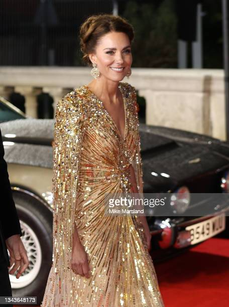 """Catherine Duchess of Cambridge attends the """"No Time To Die"""" World Premiere at Royal Albert Hall on September 28, 2021 in London, England."""
