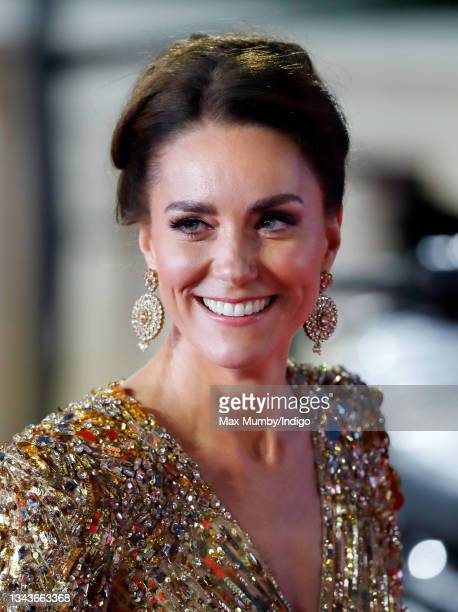 """Catherine, Duchess of Cambridge attends the """"No Time To Die"""" World Premiere at the Royal Albert Hall on September 28, 2021 in London, England."""