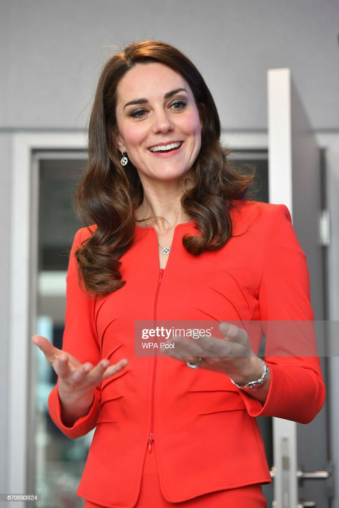 Catherine, Duchess of Cambridge attends the official opening of The Global Academy in support of Heads Together at The Global Academy on April 20, 2017 in Hayes, England. The Global Academy is a state school founded and operated by Global, The Media & Entertainment Group and will educate students for careers in broadcast and digital media.