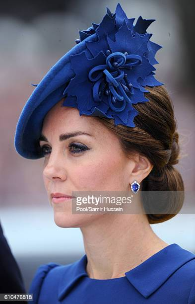 Catherine, Duchess of Cambridge attends the Official Welcome Ceremony for the Royal Tour at the British Columbia Legislature on September 24, 2016 in...