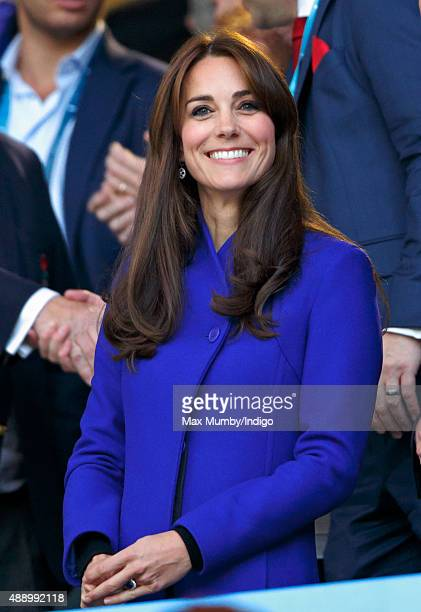 Catherine Duchess of Cambridge attends the Opening Ceremony and first match of the Rugby World Cup 2015 between England and Fiji at Twickenham...