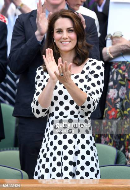 Catherine Duchess of Cambridge attends the opening day of Wimbledon 2017 on July 3 2017 in London England
