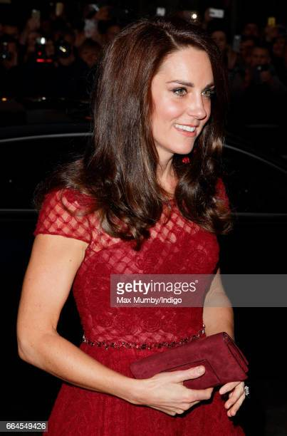 Catherine Duchess of Cambridge attends the opening night of '42nd Street' at the Theatre Royal on April 4 2017 in London England The opening night is...