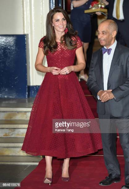 Catherine Duchess of Cambridge attends the opening night of '42nd Street' at Theatre Royal on April 4 2017 in London England The opening night is a...