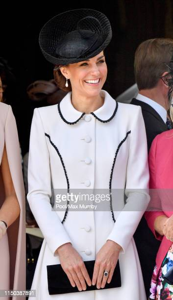 Catherine, Duchess of Cambridge attends the Order of the Garter service at St George's Chapel on June 17, 2019 in Windsor, England. The Most Noble...