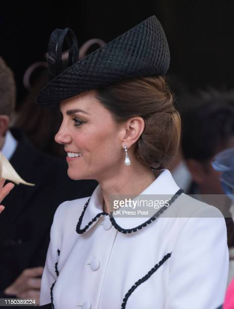 Catherine Duchess of Cambridge attends the Order of the Garter Service at St George's Chapel on June 17 2019 in Windsor England