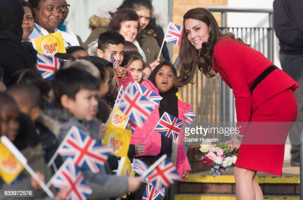 Catherine, Duchess of Cambridge attends the Place2Be Big Assembly With Heads Together for Children's Mental Health Week at Mitchell Brook Primary...