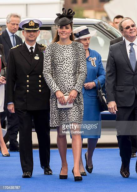 Catherine Duchess of Cambridge attends the Princess Cruises ship naming ceremony at Ocean Terminal on June 13 2013 in Southampton England