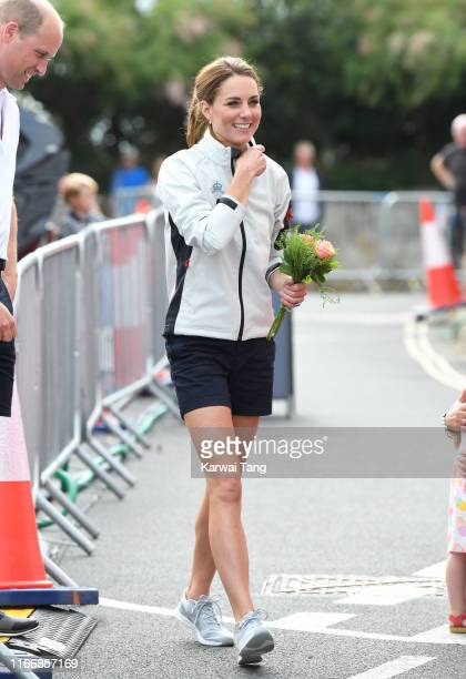Catherine Duchess of Cambridge attends the prize giving during the King's Cup Regatta on August 08 2019 in Cowes England