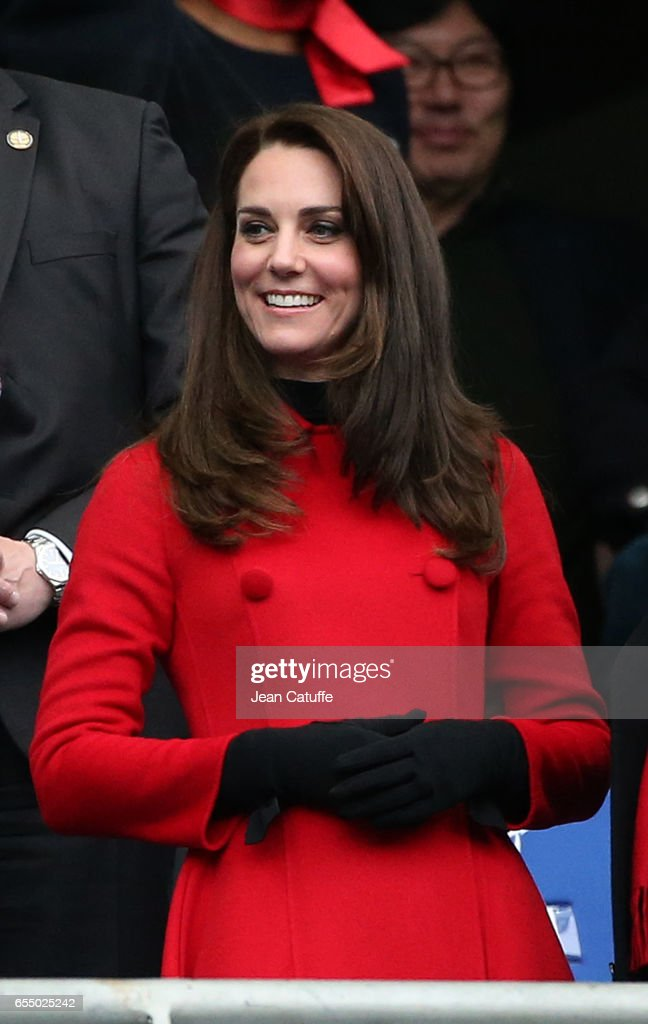 Catherine, Duchess of Cambridge attends the RBS 6 Nations rugby match between France and Wales at Stade de France on March 18, 2017 in Saint-Denis near Paris, France.