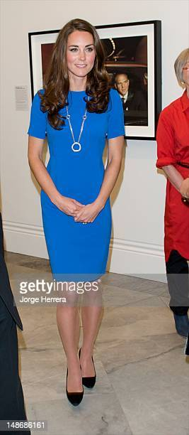 Catherine, Duchess of Cambridge, attends the 'Road to 2012: Aiming High' exhibition at National Portrait Gallery on July 19, 2012 in London, England.
