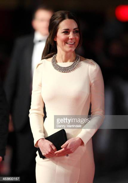 Catherine Duchess of Cambridge attends the Royal film performance of Mandela Long Walk To Freedom at Odeon Leicester Square on December 5 2013 in...