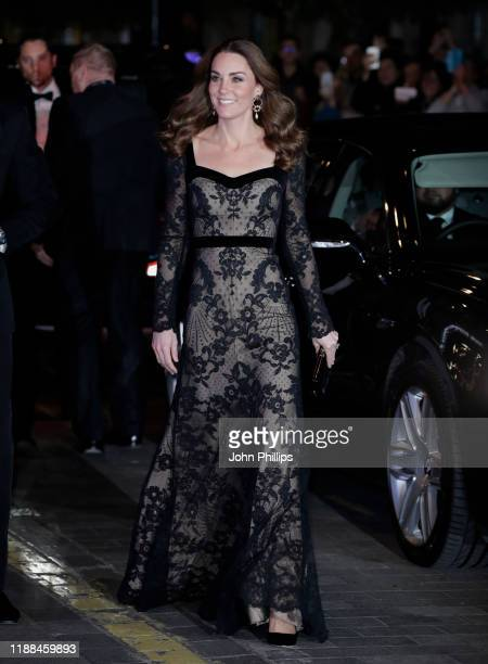 Catherine, Duchess of Cambridge attends the Royal Variety Performance with Prince William, Duke of Cambridge at the Palladium Theatre on November 18,...
