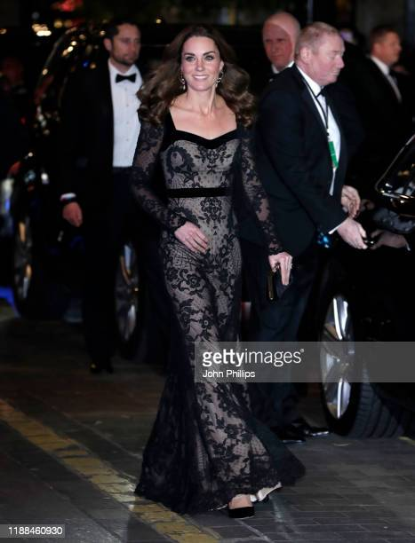 Catherine Duchess of Cambridge attends the Royal Variety Performance with Prince William Duke of Cambridge at the Palladium Theatre on November 18...