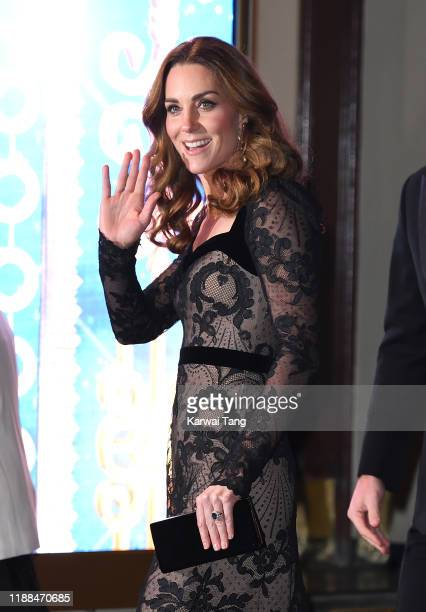 Catherine Duchess of Cambridge attends the Royal Variety Performance with Prince William Duke of Cambridge at the London Palladium on November 18...