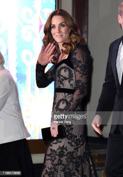 Catherine, Duchess of Cambridge attends the Royal Variety Performance with Prince William, Duke of Cambridge at the London Palladium on November 18,...