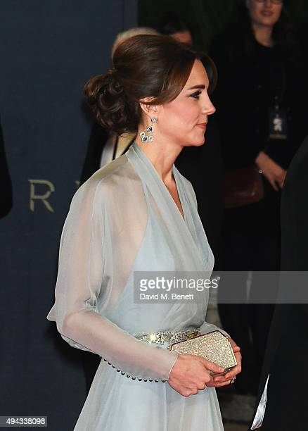 "Catherine, Duchess of Cambridge, attends the Royal World Premiere of ""Spectre"" at Royal Albert Hall on October 26, 2015 in London, England."