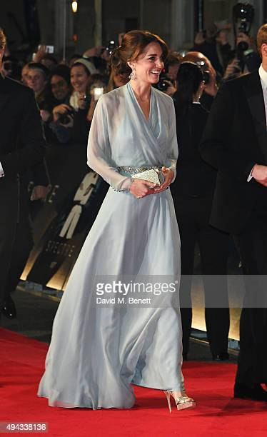 """Catherine, Duchess of Cambridge, attends the Royal World Premiere of """"Spectre"""" at Royal Albert Hall on October 26, 2015 in London, England."""