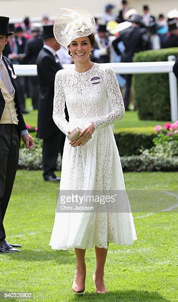 Catherine Duchess of Cambridge attends the second day of Royal Ascot at Ascot Racecourse on June 15 2016 in Ascot England
