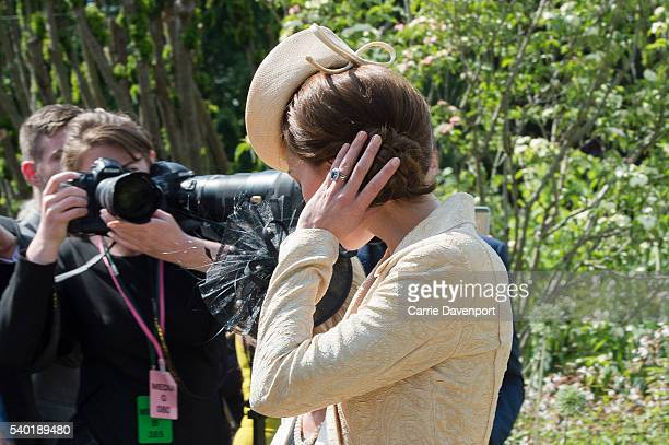 Catherine Duchess of Cambridge attends the Secretary of State for Northern Ireland's garden party ay Hillsborough Castle on June 14 2016 in Belfast...