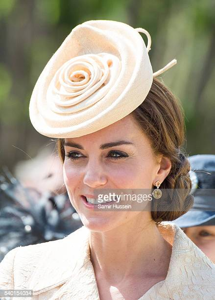 Catherine Duchess of Cambridge attends the Secretary of State's annual Garden party at Hillsborough Castle on June 14 2016 in Belfast Northern Ireland
