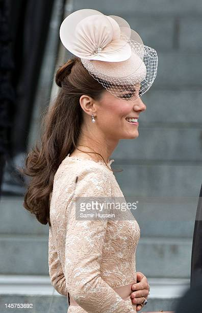 Catherine Duchess of Cambridge attends the Service of Thanksgiving at St Paul's Cathedral as part of the Diamond Jubilee marking the 60th anniversary...