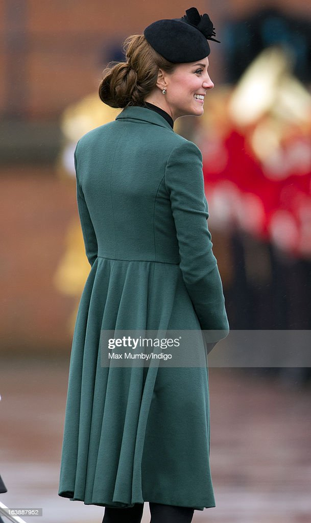The Duke And Duchess Of Cambridge Visit the 1st Battalion Irish Guards On St Patrick's Day : News Photo
