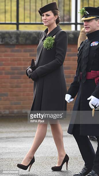 Catherine Duchess of Cambridge attends the St Patrick's Day Parade at Mons Barracks on March 17 2015 in Aldershot England