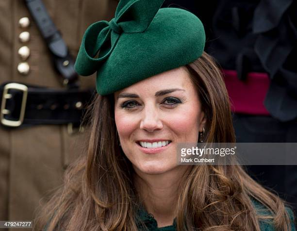 Catherine Duchess of Cambridge attends the St Patrick's Day parade at Mons Barracks on March 17 2014 in Aldershot England