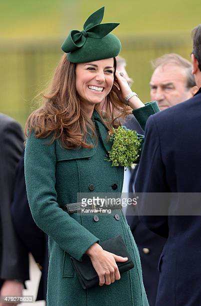 Catherine, Duchess of Cambridge attends the St Patrick's Day parade at Mons Barracks on March 17, 2014 in Aldershot, England.