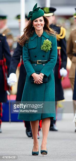Catherine, Duchess of Cambridge attends the St Patrick's Day Parade at Mons Barracks on March 17, 2014 in Aldershot, England. Catherine, Duchess of...