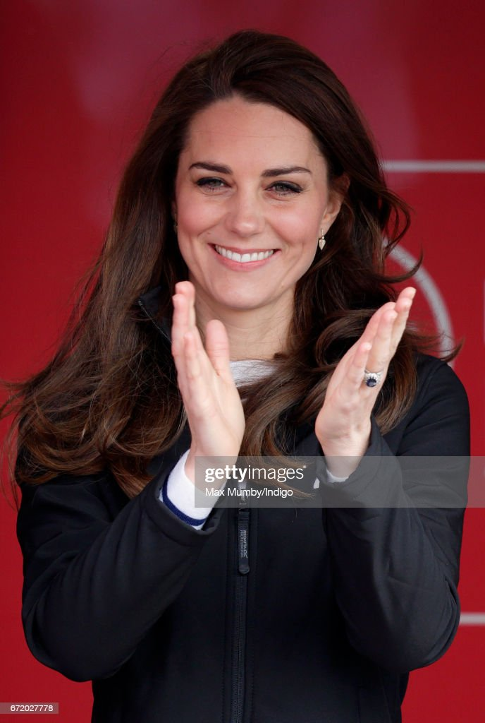 Catherine, Duchess of Cambridge attends the start of the 2017 Virgin Money London Marathon on April 23, 2017 in London, England. The Heads Together mental heath campaign, spearheaded by The Duke & Duchess of Cambridge and Prince Harry, is the marathon's 2017 Charity of the Year.
