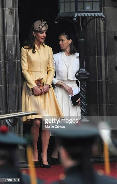Catherine Duchess of Cambridge attends the Thistle Service for the installation of The Prince William Earl of Strathearn as Knight of the Thistle at...