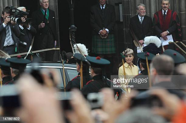 Catherine, Duchess of Cambridge attends the Thistle Service for the installation of The Prince William, Earl of Strathearn, as Knight of the Thistle...