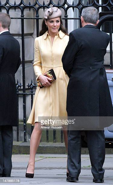 Catherine, Duchess of Cambridge attends the Thistle Service for the installation of Prince William as a Knight of the Thistle at St. Giles Cathedral...