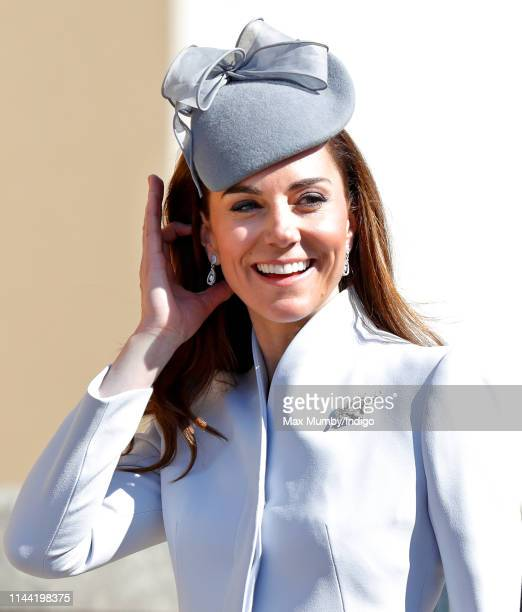 Catherine Duchess of Cambridge attends the traditional Easter Sunday church service at St George's Chapel Windsor Castle on April 21 2019 in Windsor...