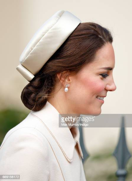 Catherine Duchess of Cambridge attends the traditional Easter Sunday church service at St George's Chapel Windsor Castle on April 16 2017 in Windsor...