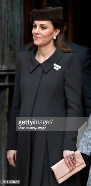 Catherine Duchess of Cambridge attends the traditional Easter Sunday church service at St George's Chapel Windsor Castle on April 1 2018 in Windsor...