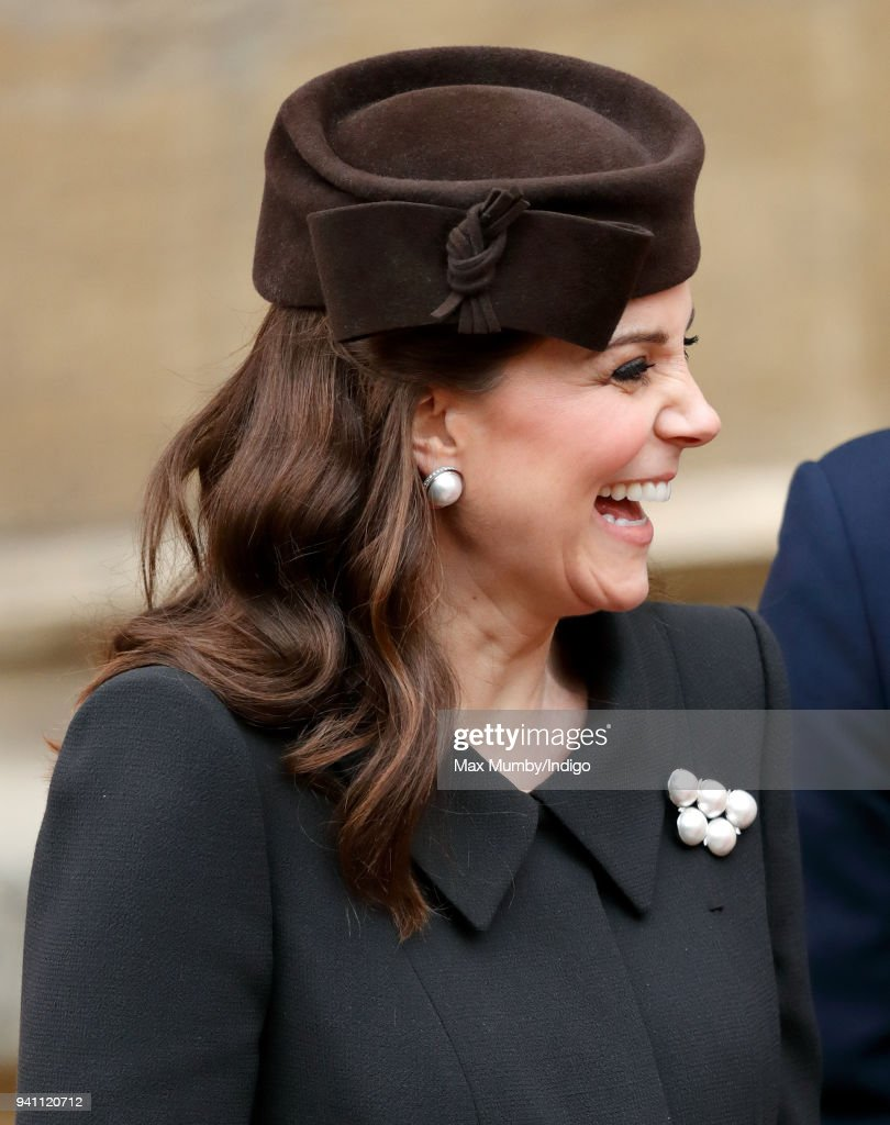 Catherine, Duchess of Cambridge attends the traditional Easter Sunday church service at St George's Chapel, Windsor Castle on April 1, 2018 in Windsor, England.