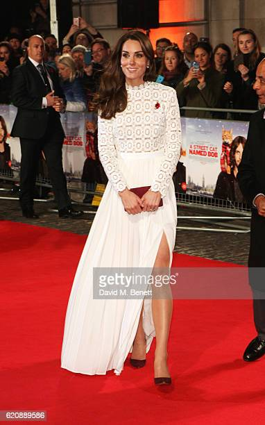 Catherine Duchess of Cambridge attends the UK Premiere of A Street Cat Named Bob in aid of Action On Addiction at The Curzon Mayfair on November 3...
