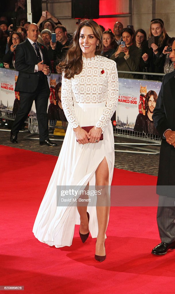 Catherine, Duchess of Cambridge, attends the UK Premiere of 'A Street Cat Named Bob' in aid of Action On Addiction at The Curzon Mayfair on November 3, 2016 in London, United Kingdom.
