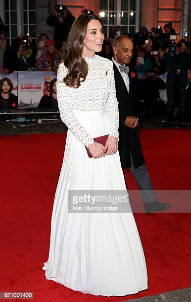 Catherine, Duchess of Cambridge, attends the UK Premiere of 'A Street Cat Named Bob' in aid of Action On Addiction at The Curzon Mayfair on November...