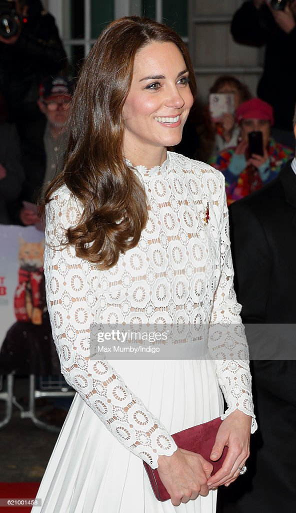 Catherine, Duchess of Cambridge, attends the UK Premiere of 'A Street Cat Named Bob' in aid of Action On Addiction at The Curzon Mayfair on November 3, 2016 in London, England.