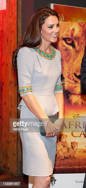 Catherine Duchess of Cambridge attends the UK Premiere of 'African Cats' in aid of Tusk Trust at BFI Southbank on April 25 2012 in London England